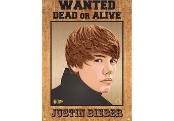 Justin Bieber Wanted Poster - Free vector #156523