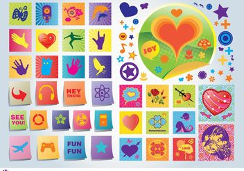 Fun Love Vector Icons - vector gratuit #156533