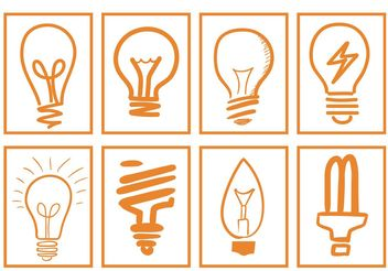 Hand Drawn Light Bulb Vectors - vector gratuit #156643