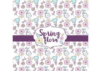 Spring Flora Pattern Design - Free vector #156863