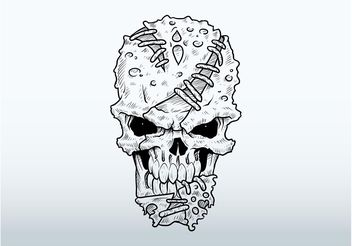 Mutant Skull Drawing - Free vector #156893