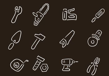 Hand Drawn Contruction Repair Tools Vectors - Free vector #156973