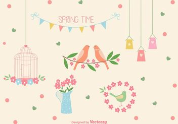 Vector Spring Time Bird Cage Elements - бесплатный vector #157203