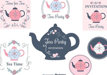 Free Tea Party Invitation Cards - vector gratuit #157253