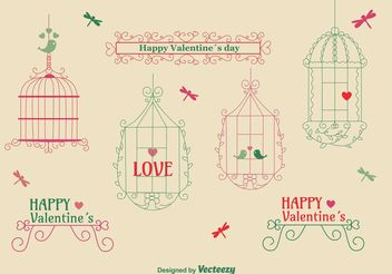 Love Vintage Bird Cage Pack - Free vector #157263