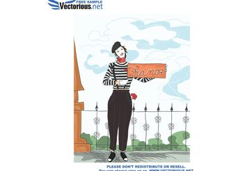 funny doodles with mime vector background - Kostenloses vector #157303