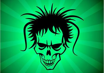 Hairy Punk Skull - vector gratuit #157463