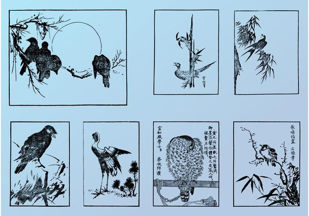 Japanese Birds - Free vector #157703
