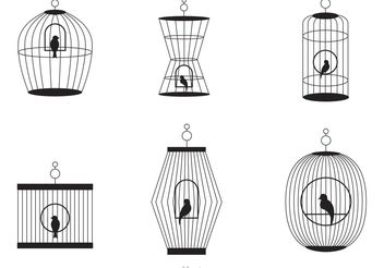 Black Vintage Bird Cage Vector - бесплатный vector #157773