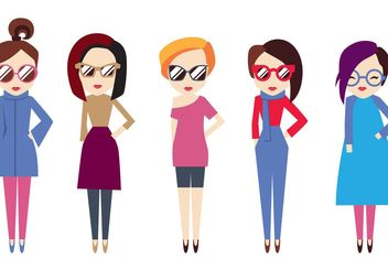 Hipster Girl Vector Pack - бесплатный vector #157813