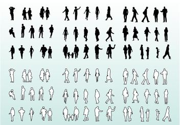 People Silhouettes and Outlines - vector gratuit #157843
