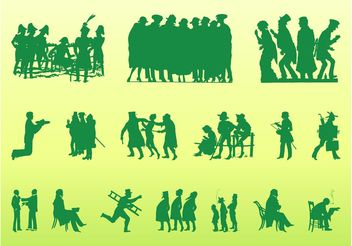Vintage People Silhouettes - Free vector #157853