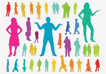 Colorful People Silhouettes - vector gratuit(e) #157923