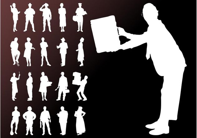 People Silhouettes Graphics Set - Free vector #157953