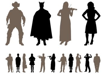 People Silhouettes Designs Pack - vector gratuit #158003