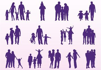 Family Silhouettes Set - vector gratuit #158033