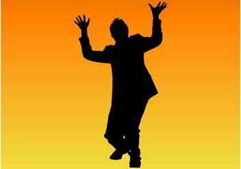 Crazy Man Silhouette - vector gratuit #158053
