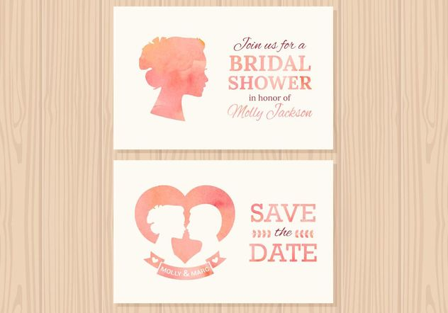 Free Wedding Invitation Vector Cards - Kostenloses vector #158503