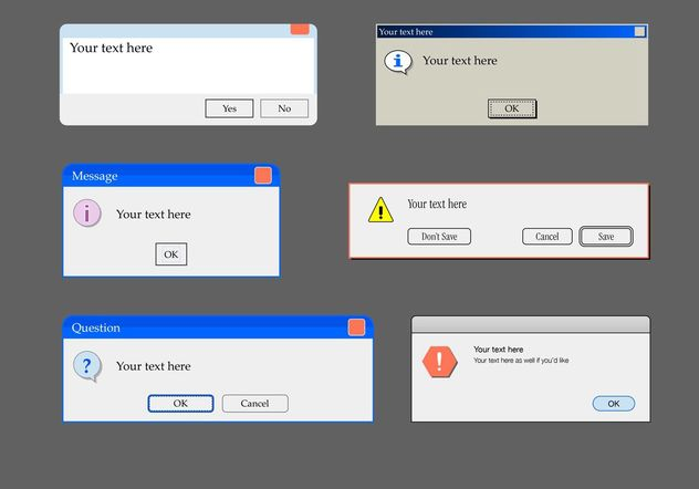 Alert Window Text Box Templates - бесплатный vector #158723