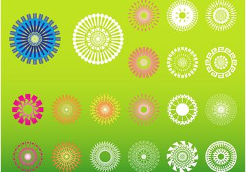 Round Flowers Vectors - Free vector #158963
