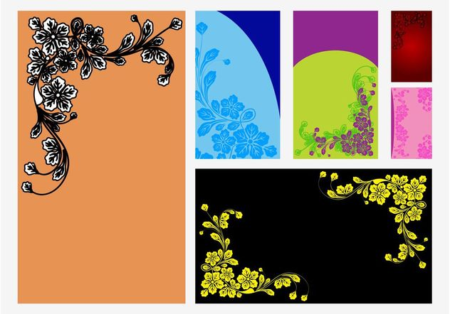 Vector Floral Cards - Free vector #159113