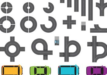Street Parts and Car Vectors - Free vector #159593