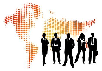 Businesspeople And Map - vector gratuit #159693