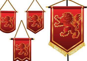 Heraldic Lion Vector Banners - Free vector #160023