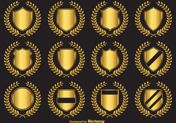 Golden Crest Vector Emblems - Free vector #160123