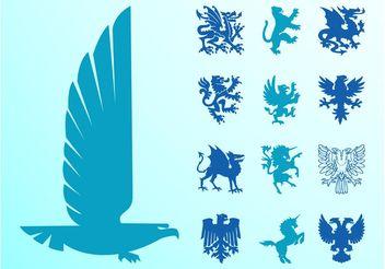 Heraldic Animals Set - Free vector #160133