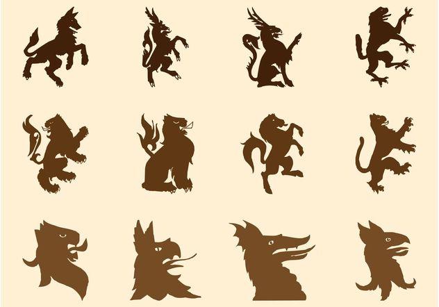 Heraldic Beasts Silhouettes - Free vector #160193