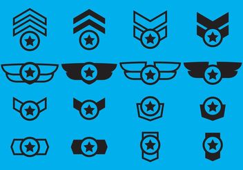 Winged Military Badge Vectors - Free vector #160623