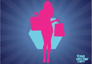 Shopping Woman Silhouette - vector gratuit #160733