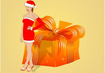 Sexy Girl With Present - vector gratuit #160863