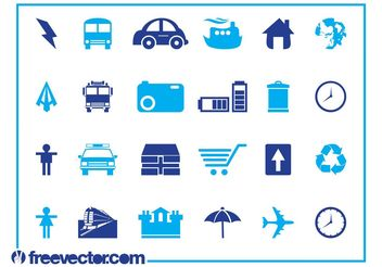 Blue Icons Set Graphics - Free vector #161063