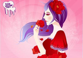 Girl With Roses - vector gratuit #161203