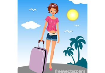 Woman With Suitcase - Free vector #161233