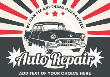 Retro Car Poster Vector - бесплатный vector #161713