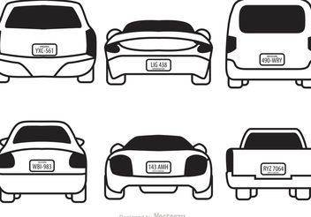 Cars With License Plates Vectors - Free vector #161793