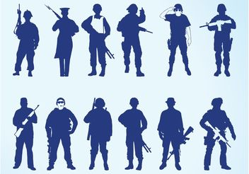 Silhouettes Of Soldiers - vector gratuit #162473