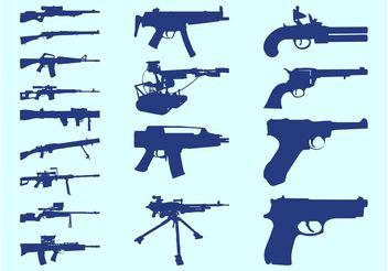 Gun Silhouettes Set - Free vector #162493