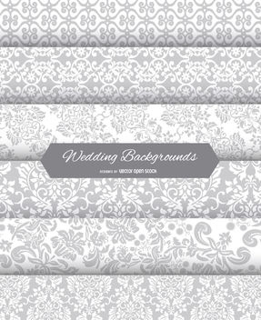 6 wedding floral backgrounds - Free vector #162643