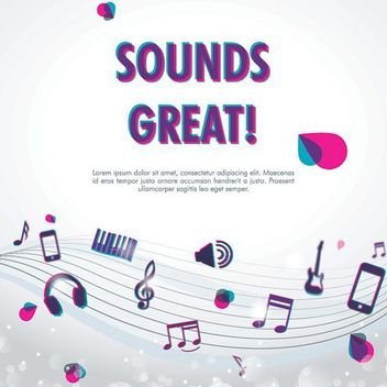 Sounds Great Musical Poster - бесплатный vector #162703