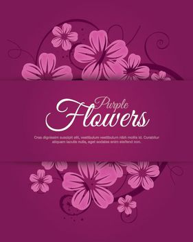 Purplish Flower Swirls Labeled Card - Free vector #162803