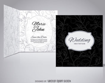 Floral Black Wedding Invitation - Free vector #162823
