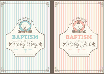Vintage Baptism Invitation Cards - Free vector #163183
