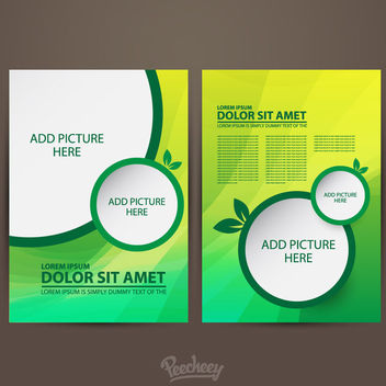 Two Sided Green Brochure Template - Kostenloses vector #163273