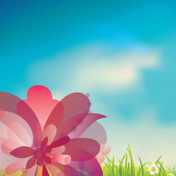 Pink Flower on Gras with Blue Sky - Kostenloses vector #163503