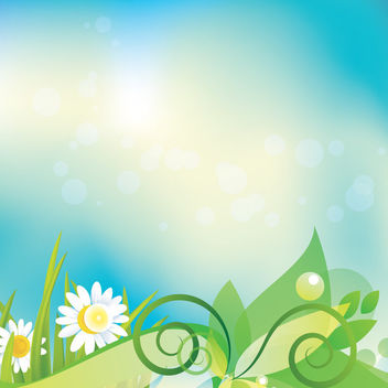 Floral Daisy Footer Colorful Background - vector gratuit #163533