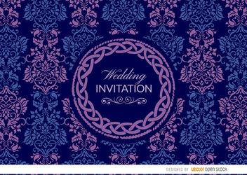 Purple blue Celtic floral wedding invitation - vector #163563 gratis
